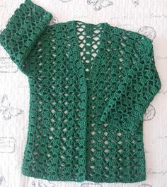 Gilet Crochet, Knitted Baby Cardigan, Crochet Jacket, Crochet Blouse, Crochet Round, Free Crochet, Crochet Top, Crochet Baby Dress Pattern, Crochet Summer Tops