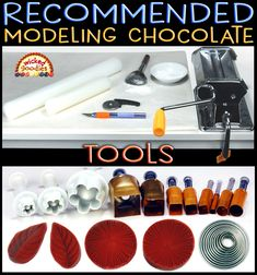 Tutorial with suggestions on which tools and equipment are best for decorating desserts with rolled modeling chocolate Modeling Chocolate Recipes, Chocolate Crafts, Chocolate Flowers, Chocolate Decorations, Fondant Flower Cake, Fondant Bow, Marshmallow Fondant, Fondant Cakes, Chocolate Marshmallows