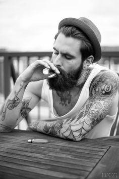 #smoking #hot #guy #beard #yummy