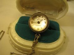 HAMILTON DECO BUBBLE CRYSTAL BALL WATCH STERLING WATCH & CHAIN 1920