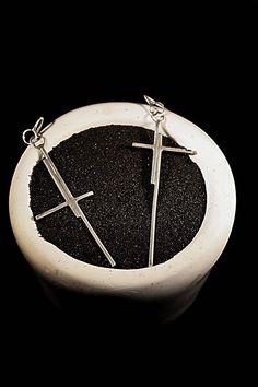 Sterling Silver Asymmetric Crosses Earrings  #jewelry, #jewelrydesign, #handmade, #silver, #earrings, #minimal, #inspiration, # crosses, #contemporaryart, #beauty, #outfit, #fashion