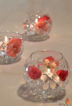 Fresh centerpiece kit comes with pink tone flowers or crystal band and silver glitter balls with water beads Bubble bowl is 4 5 One is perfect as a cocktail table centerpiece group them together on larger tables or line them up on your long table Ge Party Table Centerpieces, Floating Candle Centerpieces, Floral Centerpieces, Centerpiece Ideas, Graduation Centerpiece, Quinceanera Centerpieces, Table Arrangements, Bling Wedding Centerpieces, Dollar Tree Centerpieces