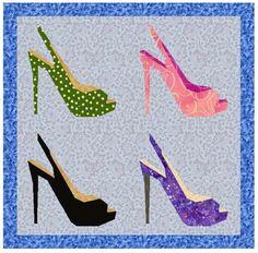 shoe quilt patterns   Shoe Patterns for Quilt Blocks   Peep toe paper pieced pattern Pattern