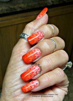 Sinful Colors Cream Soda, Julep Gloria, Loreal Precious Coral, China Glaze Drive, gradient, AliExpress 12-51 stamp