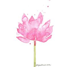 Pink Lotus Watercolor Art Print (660 PHP) found on Polyvore