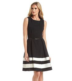 Calvin Klein Belted Stripe Fit And Flare Dress   Carson's