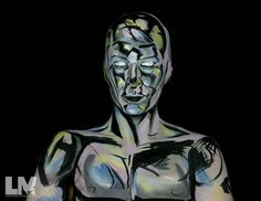 Silver Surfer  Poor fella.. I forgot to post the finished look!  Products:  Using #kryolan #aquacolor paints in 070 G82 523  #bennyemakeup magicakes in Light Lavender and Grey  #wolfefx hydrocolor in White and Black  #kryolanofficial#bodypaint#lustredust #comicmakeup#bodyart
