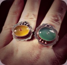 Sterling silver rings with chalcedony, topaz and 18k gold