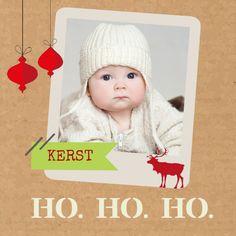 Kerstkaarten: Foto op karton achtergrond - voorkant