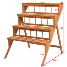 This stand has a beautiful appearance and is very useful. Made of sturdy and durable Chinese fire wood, the natural wood fragrance is also good for your health. Wood Display, Display Shelves, Shelving, Display Ideas, Wood Plant Stand, Plant Stands, Corner Plant, Produce Stand, Wood Steps