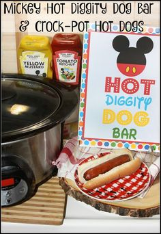 Crock-Pot Hot Dogs for a Crowd and Mickey Hot Diggity Dog Bar Mickey Birthday, Mickey Party, 2nd Birthday, Birthday Ideas, Birthday Wishes, Puppy Birthday, Husband Birthday, Crockpot Recipes, Dog Food Recipes