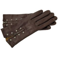 Glove Story - Black Diamond-riveted Chocolate Leather