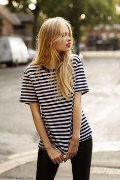 Striped tee + Black skinny jeans