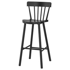 IKEA - NORRARYD, Bar stool with backrest, black, The deepened seat and rounded backrest provide comfort and support. The metal on the footrest protects it from wearing. The chair's height and design match NORRÅKER bar table. Suitable for bar height Old Chairs, Cafe Chairs, Metal Chairs, Dining Chairs, High Chairs, Desk Chairs, Lounge Chairs, Dining Table, Black Stool