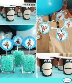 Monkey party ideas- monkey cup is really cute-Monkey drinking cups are made using a brown drinking cup. Cut a two inch circle out of tan coloured cardstock and cut in half. Glue to cup holding down at corners for about 30 seconds so corners don't peel up. Cut one inch circles (2) out of dark brown cardstock and bend slightly and glue to sides for ears. Glue on 2 googly eyes