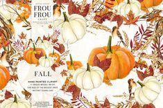 Fall Clip Art Autumn Clipart Watercolor Pumpkin by froufroucraft
