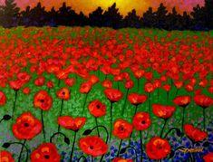 Poppy Carpet Painting by John Nolan - Poppy Carpet Fine Art Prints and Posters for Sale