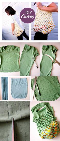 DIY #Recicla. Las t-shirts viejas pueden ser tu bolsa de las compras, para ir al mercado con estilo.