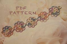 Tatting lace bracelet pdf pattern Clematis