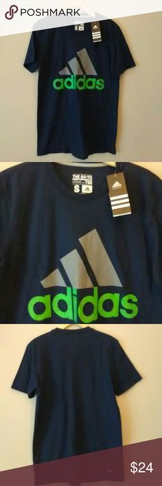 Adidas performance TEE. NWT Adidas performance TEE. Collegiate Navy color with gray and bright green logo. 60% polyester 40% Cotton. Climalite. Adidas Shirts Tees - Short Sleeve