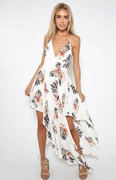 Pocket Flower Dress - White Floral