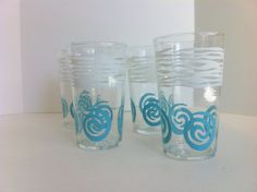 Turquoise & White Highball Glasses Vintage Set of 4 by Pesserae