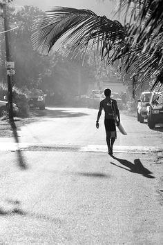 shadow | morning surf | palm tree | surfer | black & white | morning light | surfing