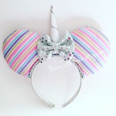 Unicorn Mouse Ears ✨ Unicorn Mickey Ears Rock the Kingdom with my Rainbow Unicorn Mouse Ears.  Perfect for your Disney trip or cruise, parties and even photo shoots.   Handmade, hand sewn fabric ears.  Nice and stuffed.  With a handmade felt unicorn horn and a mini silver sequin bow.  On a standard sized wide plastic headband. Handmade Accessories Hair Accessories