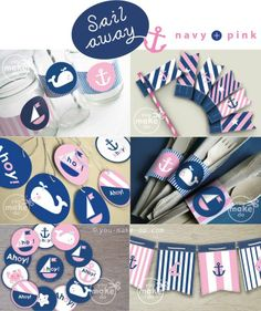 Navy and pink nautical party printables full of nautical party decorations to make a nautical birthday party, nautical baby shower, nautical gender reveal party, or other unique nautical party celebration. Use the sweet nautical banner in a child's or baby's room after the celebration too! This nautical party theme kit includes favor tag printables, straw toppers, banners, drink wrappers, cake or cupcake toppers, and cutlery (or chocolate) wraps! | you make do® |