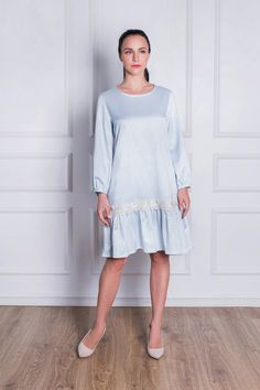 Chantilli Collection Ruffled blue dress. Mother daughter matching dress. Pastel Blue Candy dress demonstrates how beautifully Chantilli Collection combines modernity and romance, comfort and femininity. Handmade from pastel blue stretch-jacquard. Floating away from the body in a voluminous tiered shape. Dress is cut in a loose, relaxed silhouette that can be worn also throughout pregnancy. Mother Daughter Dresses Matching, Candy Dress, Blue Candy, Pastel Blue, Mother And Child, Blue Dresses, Kids Fashion, Pregnancy, Cold Shoulder Dress