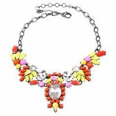 "Add bright style to neutral outfits or anchor a vibrant ensemble with this bold statement necklace, showcasing faceted faux stone drops highlighted by dazzling Austrian crystals.   Product: NecklaceConstruction Material: Austrian crystal and resinColor: Coral, yellow, gunmetal and clearFeatures: Statement piece Dimensions: 2.5"" H x 16-18"" Diameter"