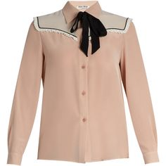 Miu Miu Neck-tie silk crepe de Chine blouse (13,740 MXN) ❤ liked on Polyvore featuring tops, blouses, pink multi, pink silk blouse, pink tie neck blouse, pink necktie, frilly blouse and ruffle blouse