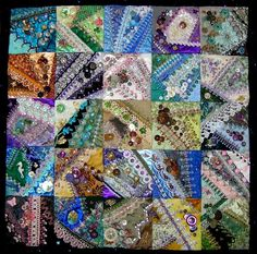 I ❤ crazy quilting . . . Pam Kellogg's Crazy Button Quilt- A crazy quilt featuring 25 6-inch blocks and showcasing the embroidery from my Elegant Crazy Quilt Seam Treatments EBook.