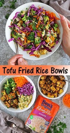 #ad These Tofu Fried Rice Bowls are a plethora of delightful textures, colors, and flavors. There's fresh and crunchy red cabbage, sweet grated carrots, pan-roasted broccoli, deliciously spiced tofu, and quick and easy fried rice made with Ben's Original™ Ready Rice™ Jasmine. By the way, Ben's Original™ Ready Rice™, formerly Uncle Ben's, still has the same great taste and quality. And, it is ready in minutes which makes it a perfect easy meal solution for those busy afternoons and evenings. Lunch Recipes, Vegetarian Recipes, Healthy Recipes, Carrot And Coriander, Atlanta Food, Best Comfort Food, Recipes From Heaven, Rice Bowls, Fun Cooking