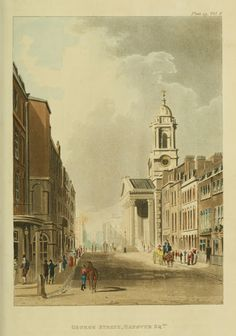 St. George's Cathedral, George Street, Hanover Square, 1812: Regency England - London Street Views - Ackermann's Repository