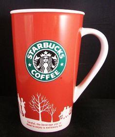 Starbucks Holiday 2000 Tall 16 Oz Coffee Mug Cup Red Christmas Logo  $14.99 Free Shipping