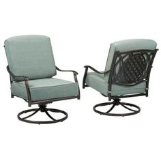 Hampton Bay Belcourt Swivel Rocking Metal Outdoor Lounge Chair With Spa  Cushions (2 Pack)