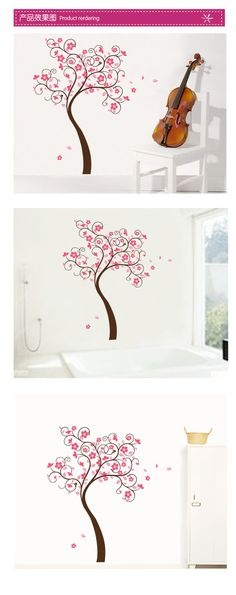 สติ๊กเกอร์ติดผนัง W125 ลายต้นไม้ มีดอกสีชมพู สวย น่ารัก