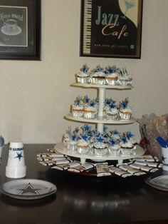 Dallas Cowboy Cupcake Tower For A Baby Boy Baby Shower