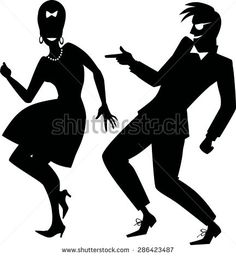 Vector silhouette of a couple dressed in early 1960s fashion dancing rock and roll, no white objects, EPS 8