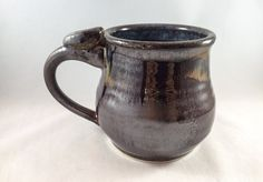 Large stoneware pottery mug with thumb rest- metallic brown and blue, with turquoise accents (12 oz)- great gift for a coffee or tea lover! by CenteredVessel on Etsy