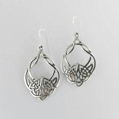 Celtic Wolf Earrings~Sterling Silver Wolf Earrings~Celtic Earrings~Sterling Silver Celtic Knot Earrings~Wolf Charm Earrings~Wolf Jewelry