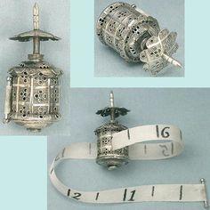 Small Antique English Sterling Silver Pagoda Tape Measure; Circa 1850