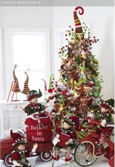 Xmas tree with Red Wagons & Red Tricycles - you should do you one like this in your room!