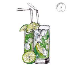Good objects - discovered by ↠ melancholia ↞ Mojito, Cute Illustration, Watercolor Illustration, Gin Basil, Basil Smash, New York Drawing, Watercolor Food, Recipe Scrapbook, Food Drawing