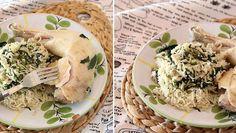Riz au lait de coco, épinards et poulet