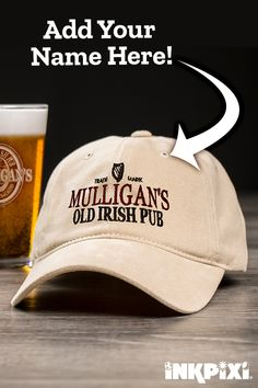 ca0e5250610e6 Don an Old Irish Pub embroidered hat at your next pub crawl. Look  spectacular featuring