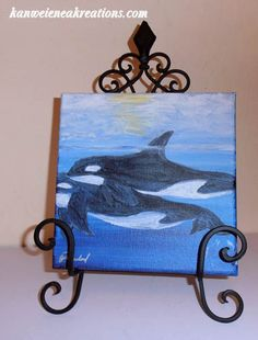 Orcas acrylic painting of whales