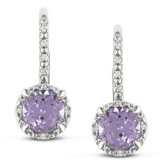 Miadora Sterling Silver Amethyst and Diamond Accent Earrings Women's