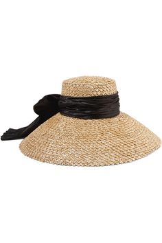 Beige straw, black satin 100% straw Spot clean